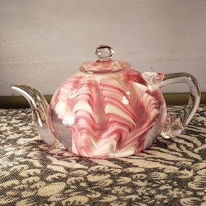 Murano Pink & White Swirl Blown Glass Teapot
